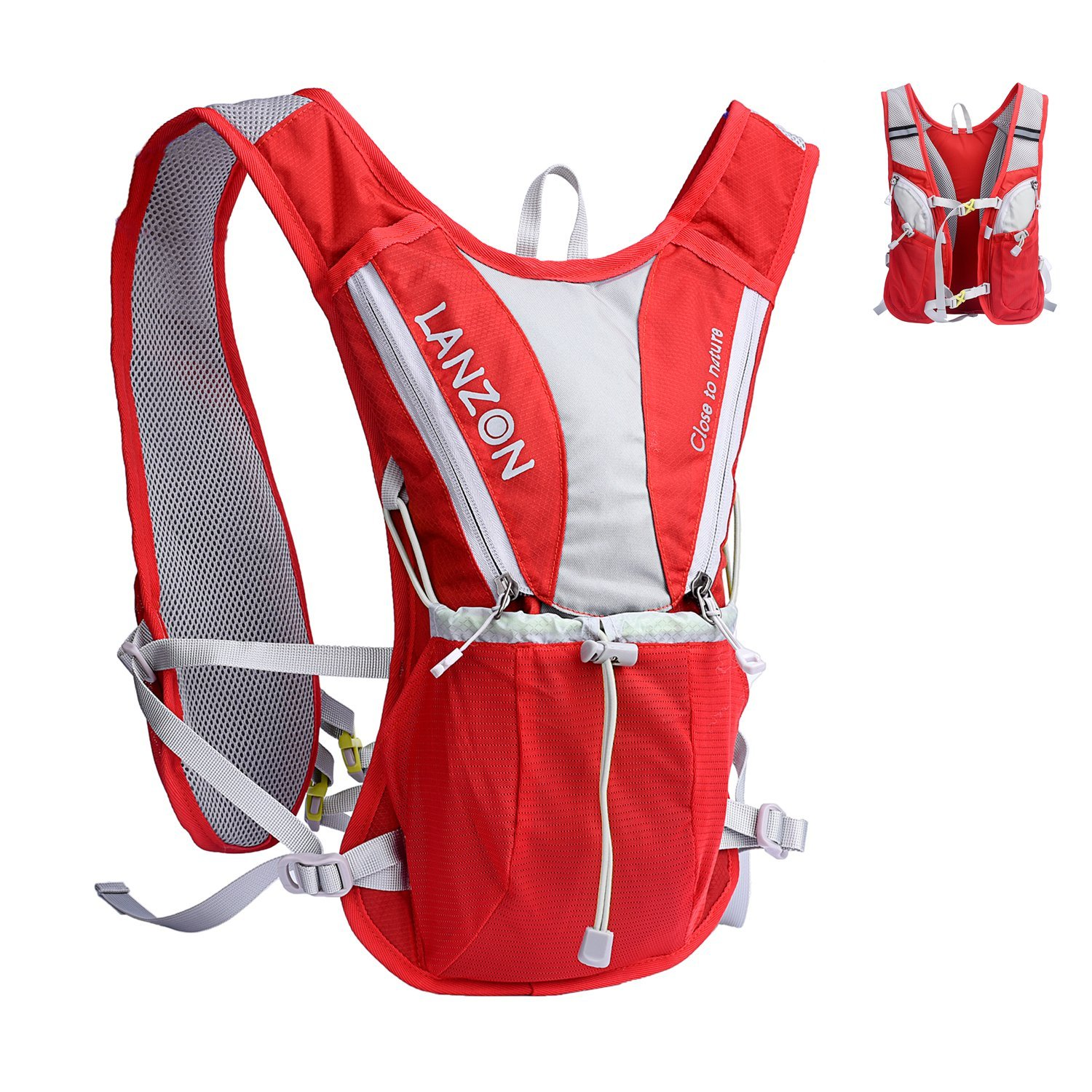 LANZON 2L Hydration Vest (NO Bladder), Marathon Running Pack, Hiking Cycling Backpack - Red