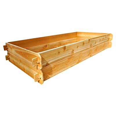 Timberlane Gardens Raised Bed Kit Double Deep, Western Red Cedar Mortise Tenon Joinery, 3' W x 6' L: Garden & Outdoor