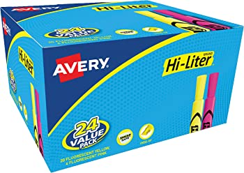 24-Pack Avery Hi-Liter Chisel Tip Desk-Style Highlighters
