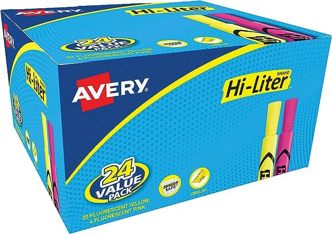 Avery Hi-Liter Desk-Style Highlighters, Smear Safe Ink, Chisel Tip, 24 Assorted Color Highlighters (98189)