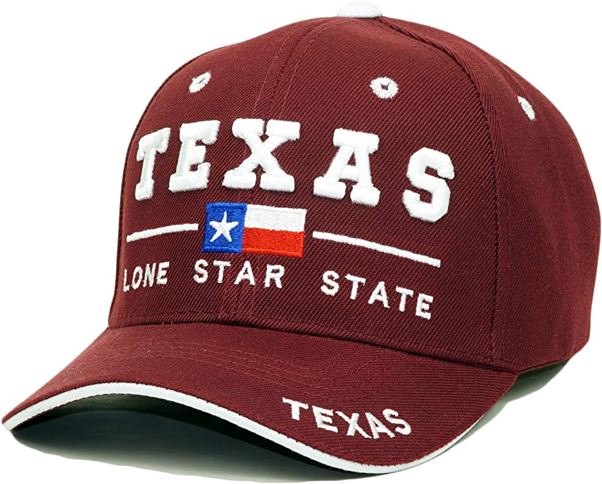 b615a3e7e2125 Texas State Embroidery Hat Long Star State Adjustable Baseball Cap  (Burgundy)