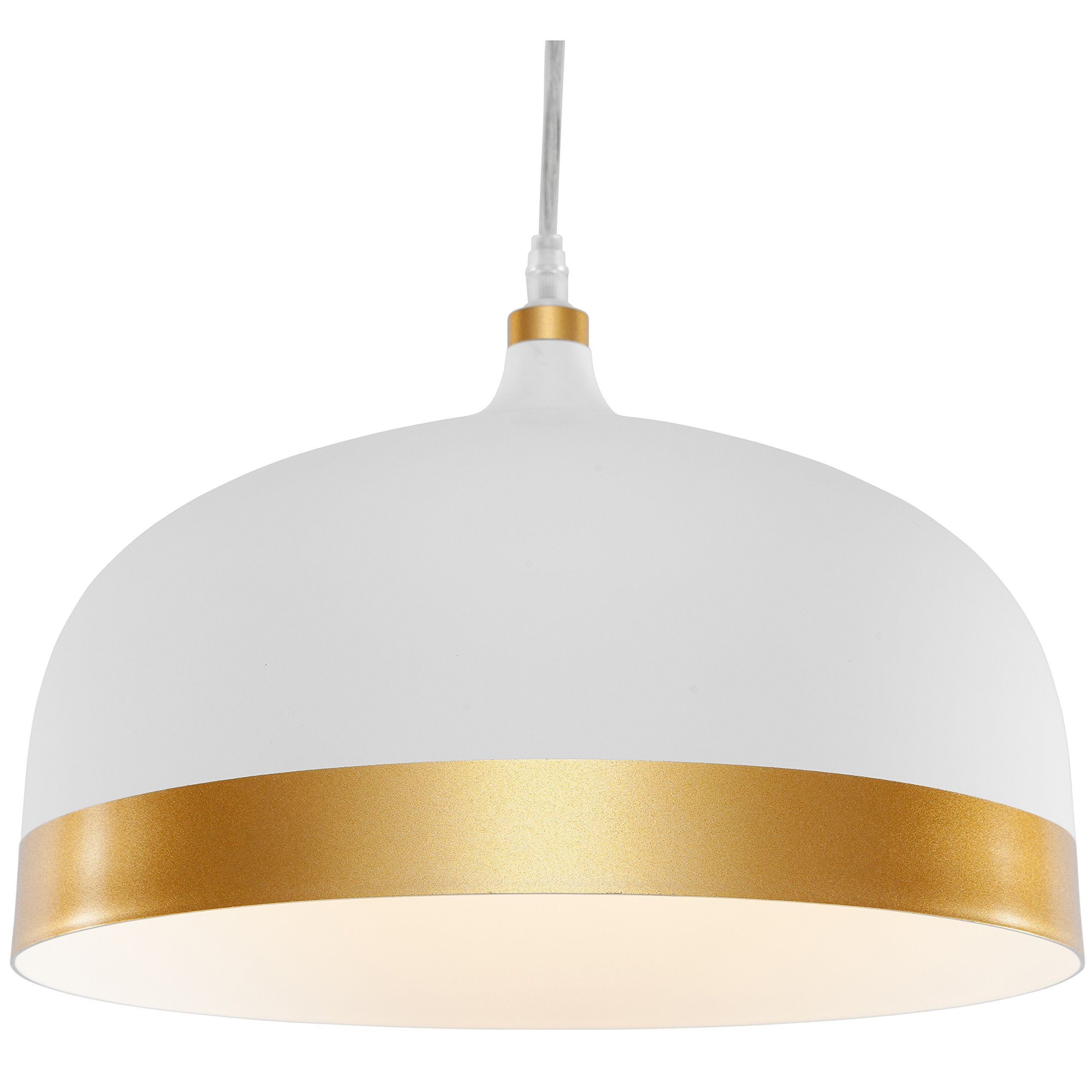 Light Society Melaina Pendant Light, White Shade with Gold Band and Copper Interior, Modern Industrial Farmhouse Lighting Fixture (LS-C170-WHI-GLD)