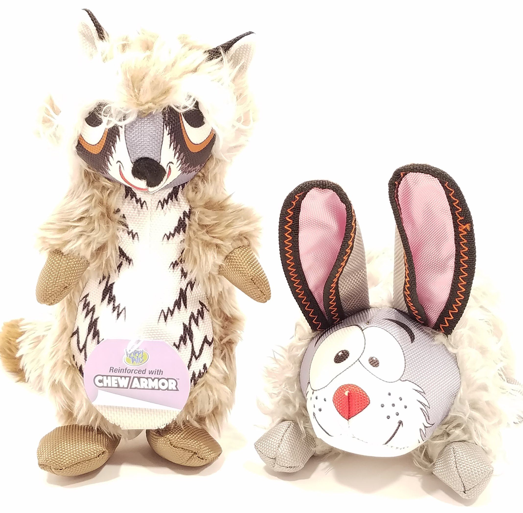 Ty's Pet Corner 2 pack Racoon and Skunk large Plush pet toys with Chew Armor and squeaker
