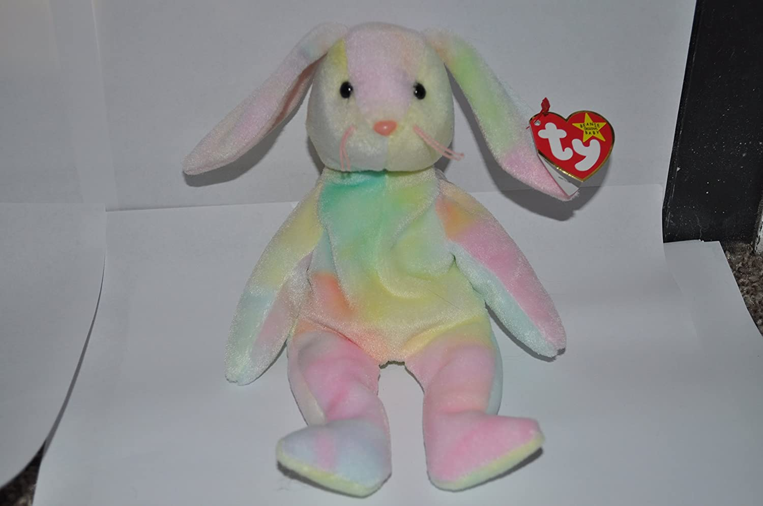 9e4287427d7 Amazon.com  Hippie the Pastel Ty-Dyed Bunny Rabbit - MWMT Ty Beanie Babies   Toys   Games
