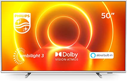 Televisor 4K UHD Ambilight Philips 50PUS7855/12 de 50 pulgadas (P5 Perfect Picture Engine, Asistente Alexa integrada, Smart TV, Función de control por voz), Color plata claro (modelo de 2020/2021): Amazon.es: Electrónica