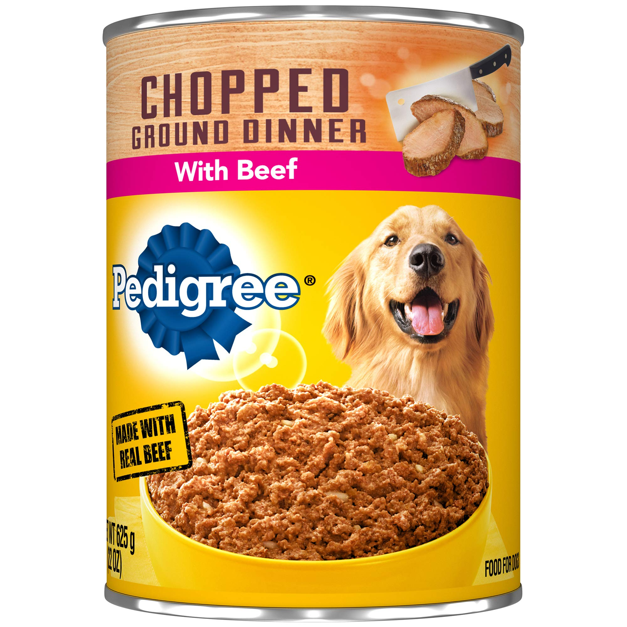 PEDIGREE Meaty Ground Dinner With Chopped Beef Canned Dog Food, (pack of 12) 22 ounce cans