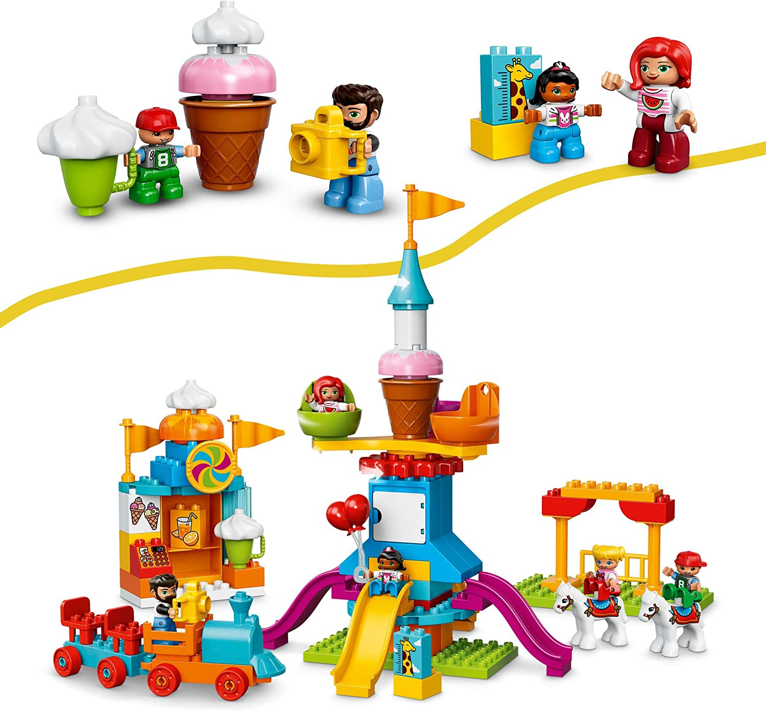 LEGO DUPLO Town Big Fair 10840 Role Play and Learning Building Blocks Set for Toddlers Including a Ferris Wheel, Carousel, and Amusement Park (106 pieces): Toys & Games