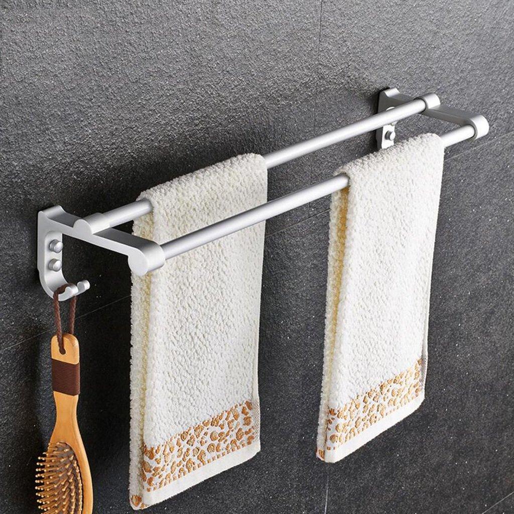 ZfgG Space Aluminum Towel Rack Double Rod,Towel Bar Bathroom,Towel Rack Bathroom,Accessories Shelf,Storage shelf