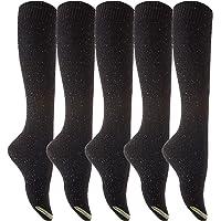 Lian LifeStyle Women's 5 Pairs Pack Knee High Cotton Socks Size(Black)