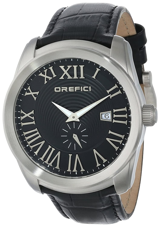 Orefici ORM8S4401 Herren Schwarz Lederband Schwarzes Zifferblatt Chronograph Slim Classy Sleek Watch