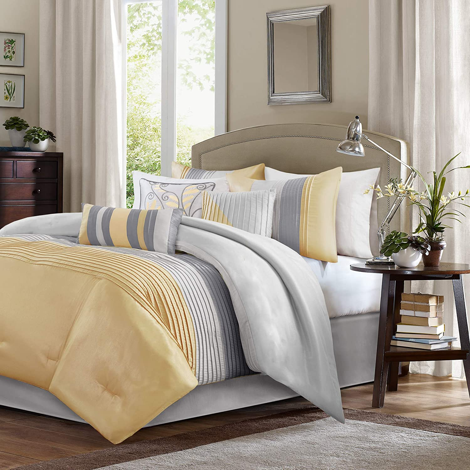 Madison Park Amherst 7 Piece Comforter Set, Yellow, Queen