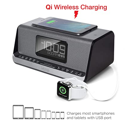 info for fa825 48005 iHome iBN350 Alarm Clock FM NFC Bluetooth Radio with Lightning iPhone Qi  Wireless Charging Dock Station for iPhone Xs, XS Max, XR, X, iPhone 8/7/6  ...