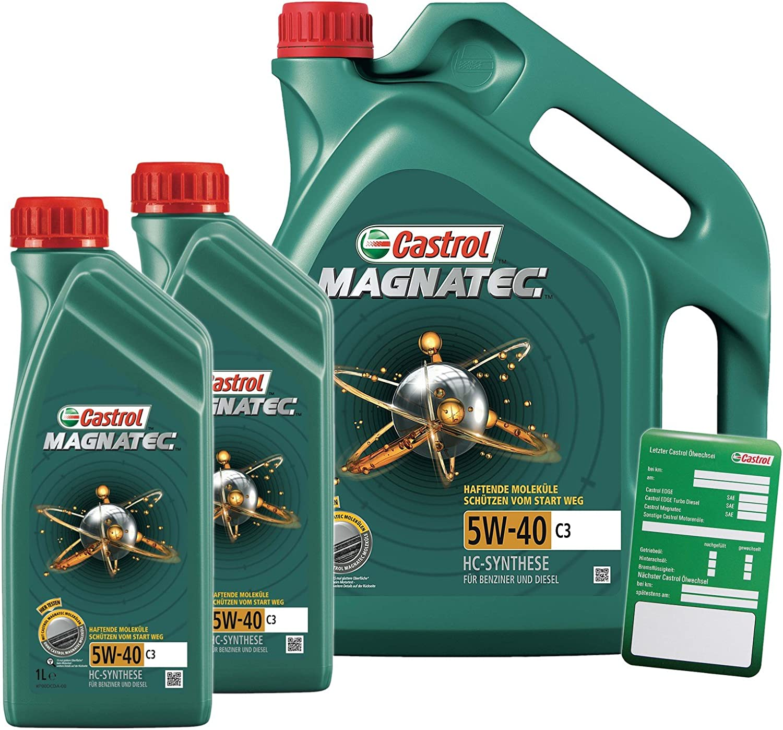 2x 1 L 5 L 7 Liter Castrol Magnatec 5w 40 C3 Motoröl Inkl Castrol Ölwechselanhänger Auto
