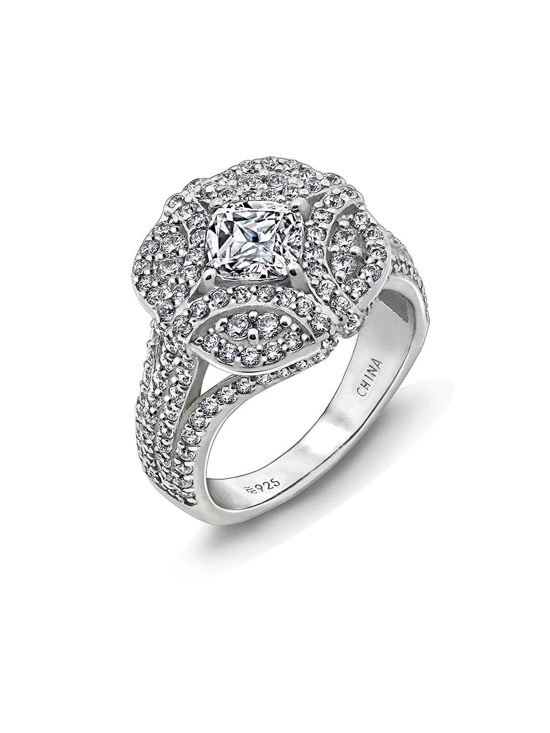 Diamonbliss Platinum Plated Sterling Silver 2.7 ct Cubic Zirconia Fashion Ring