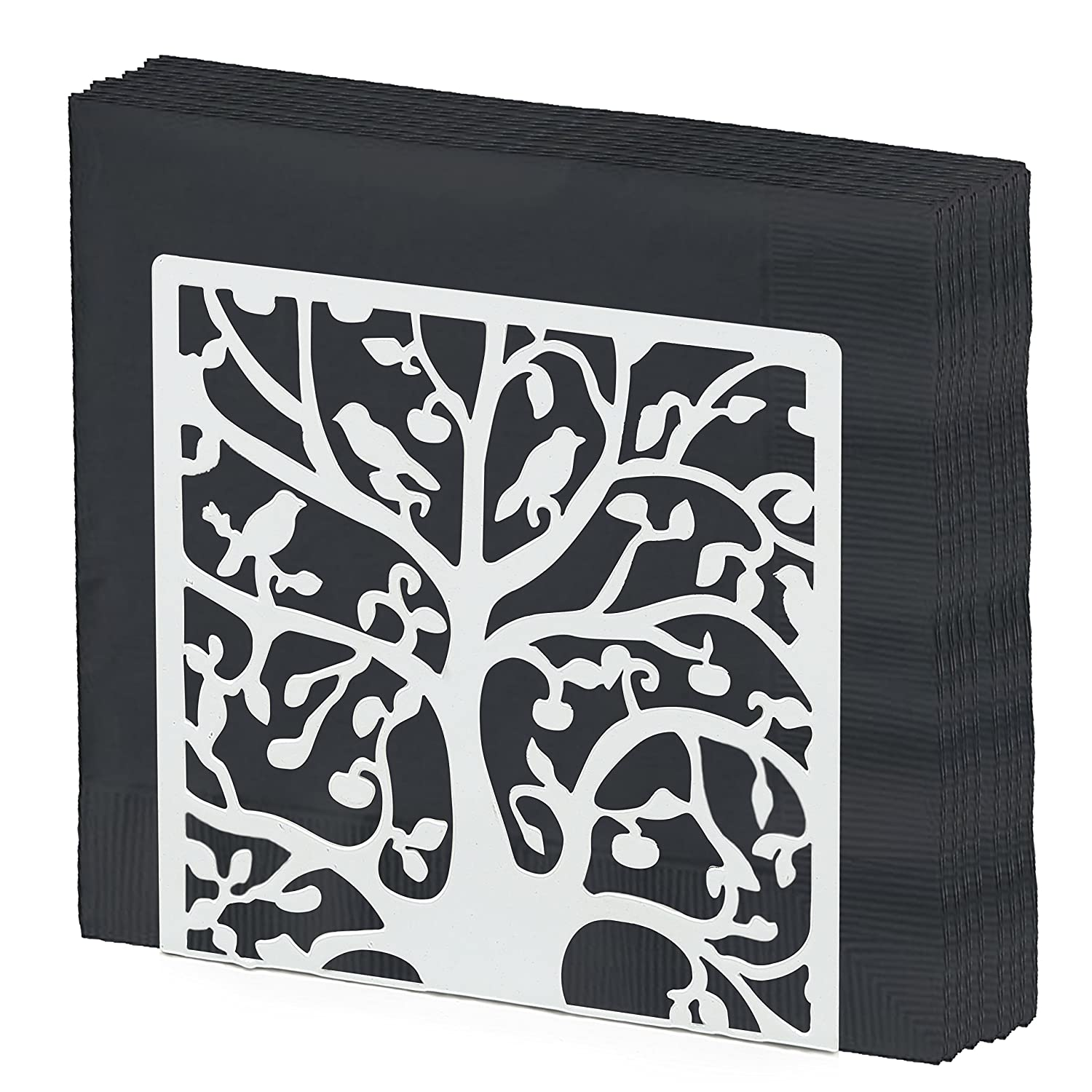Black Metal Tree & Bird Design Tabletop Napkin Holder/Freestanding Tissue Dispenser MyGift SPOMHNK2182