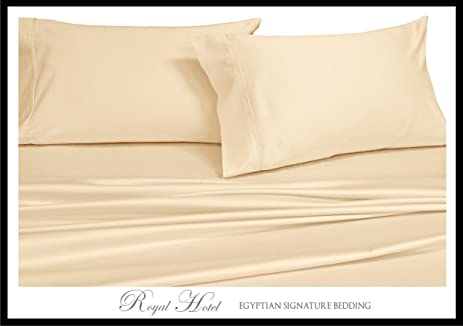 Royalu0027s Solid Ivory 300 Thread Count 4pc Olympic Queen Bed Sheet Set 100 %