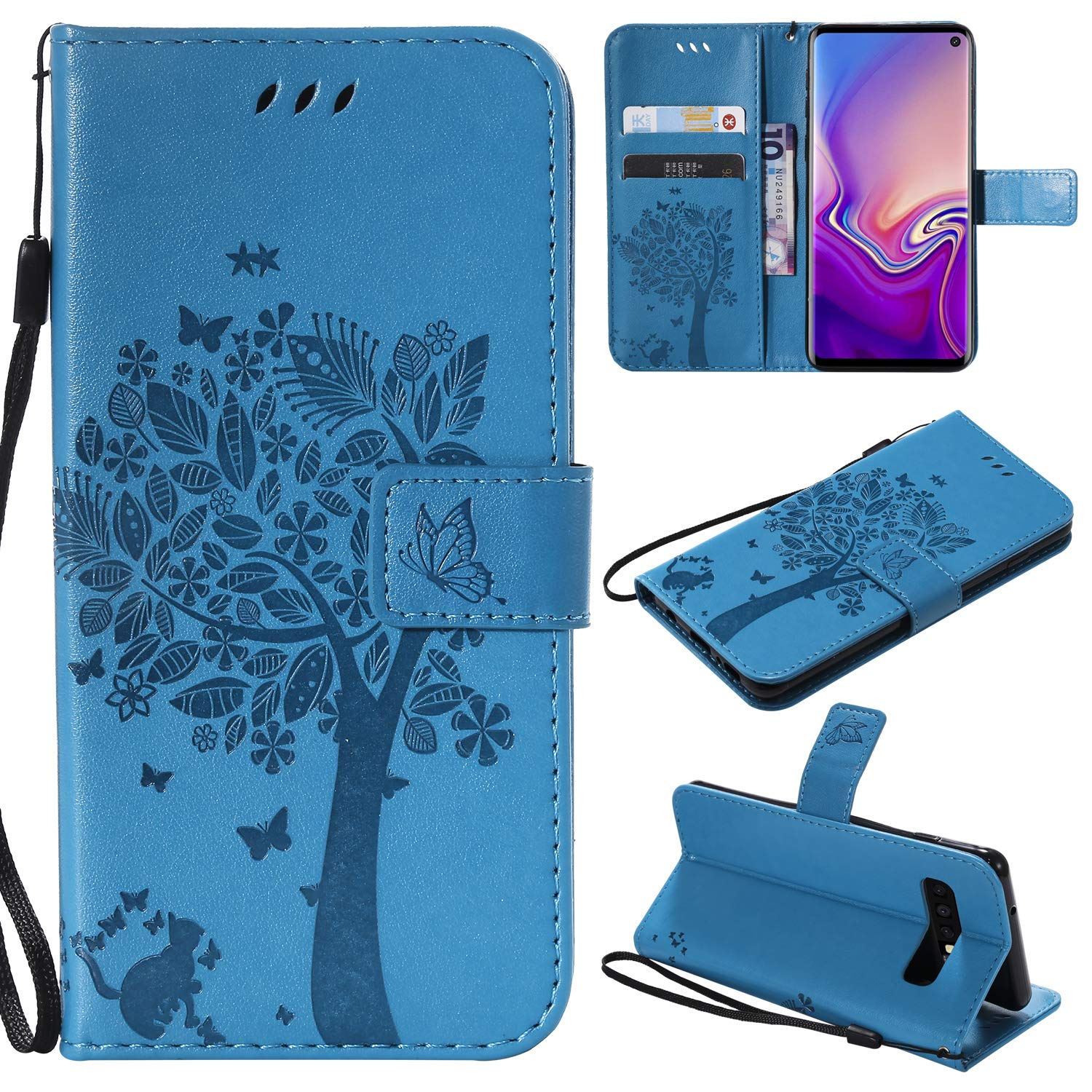 Galaxy S10 Plus Case,Samsung S10 Plus Case,Wallet Case,PU Leather Case Floral Tree Cat Embossed Purse with Kickstand Flip Cover Card Holders Hand Strap for Samsung Galaxy S10 Plus Brown