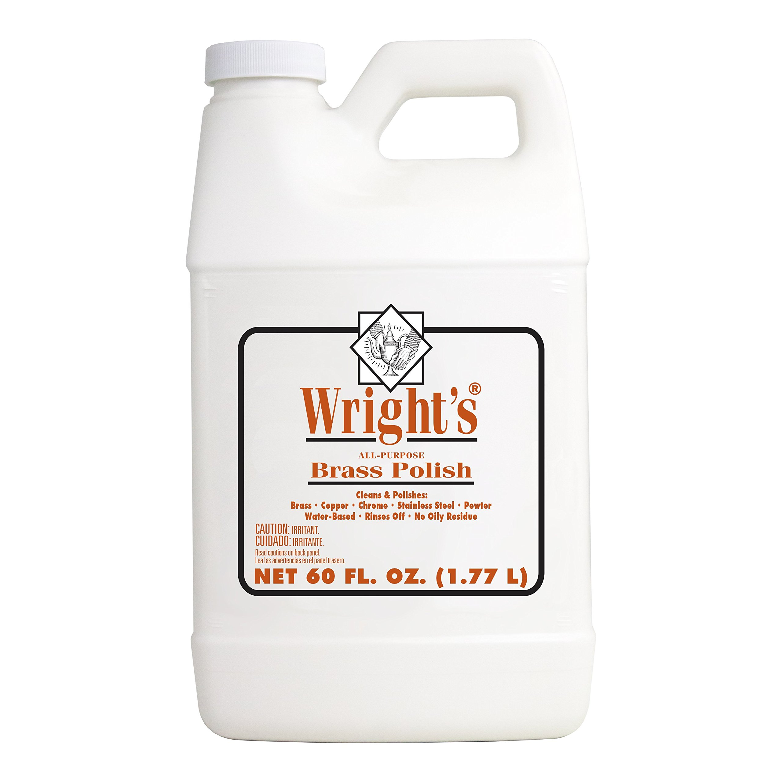 Wright's Brass Polish and Cleaner - 60 Ounce - Gently Clean and Remove Tarnish Without Scratching