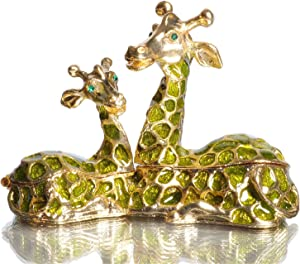 Waltz&F Green Sitting Giraffes Jeweled Trinket Box Hinged Hand-Painted Ring Holder Animal Figurine Home Decoration