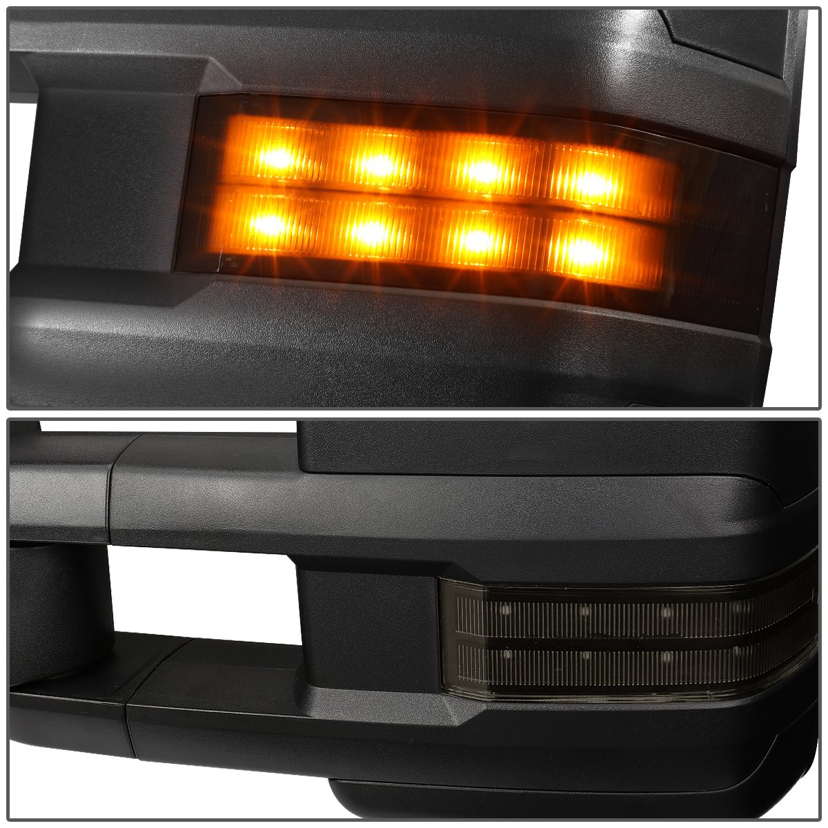 For 03-06 Chevy//GMC Silverado//Sierra Tahoe//Yukon DNA Motoring TWM-015-T888-BK-AM Pair Powered Tow Mirrors