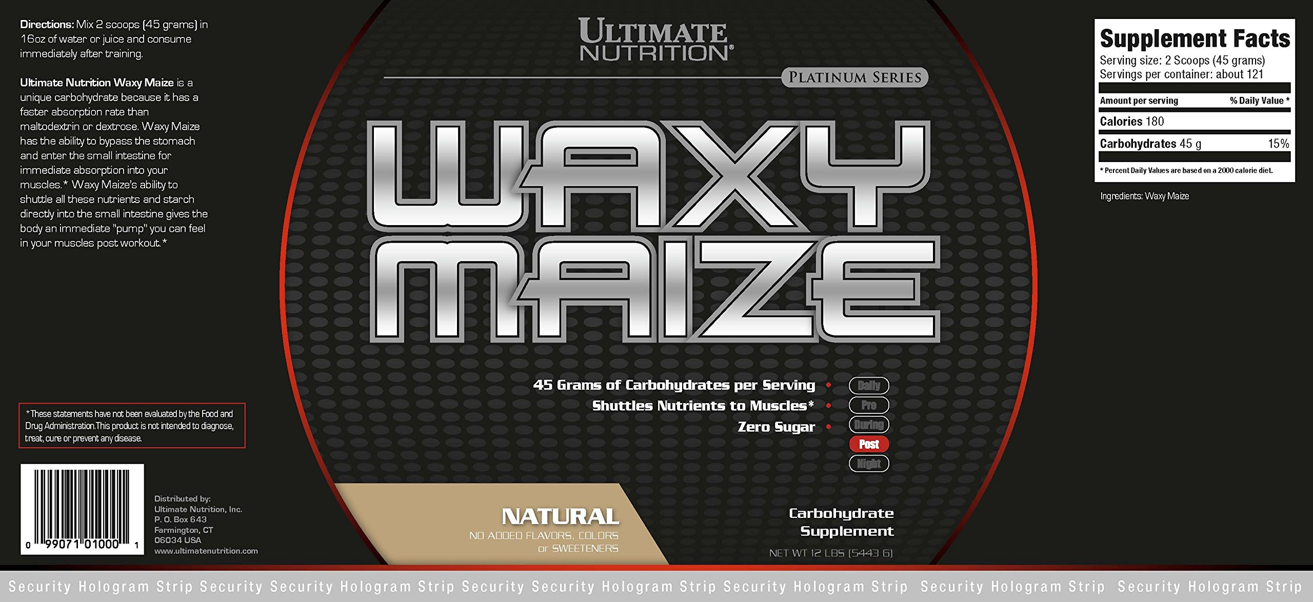 Ultimate Nutrition Waxy Maize, Natural, 12 Pound