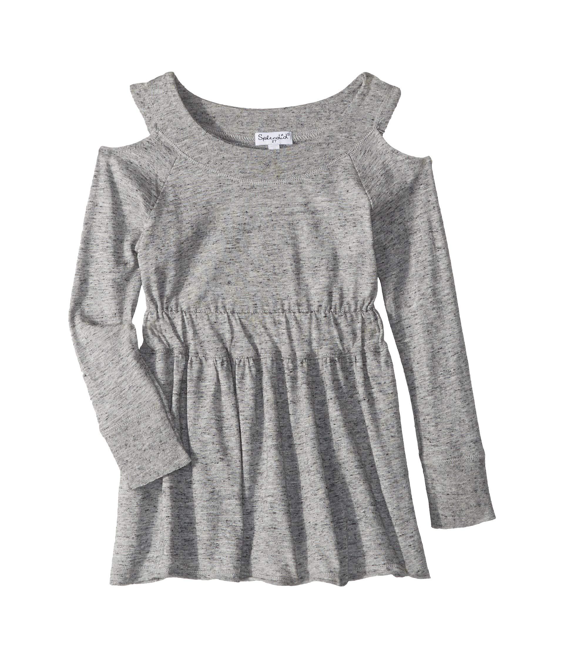 Splendid Girls' Toddler Cold Shoulder Dress, Marled Grey, 2T