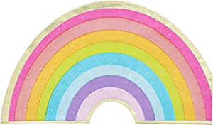 Rainbow Paper Napkins with Gold Foil for Birthday Party (6.5 x 3.75 In, 50 Pack)