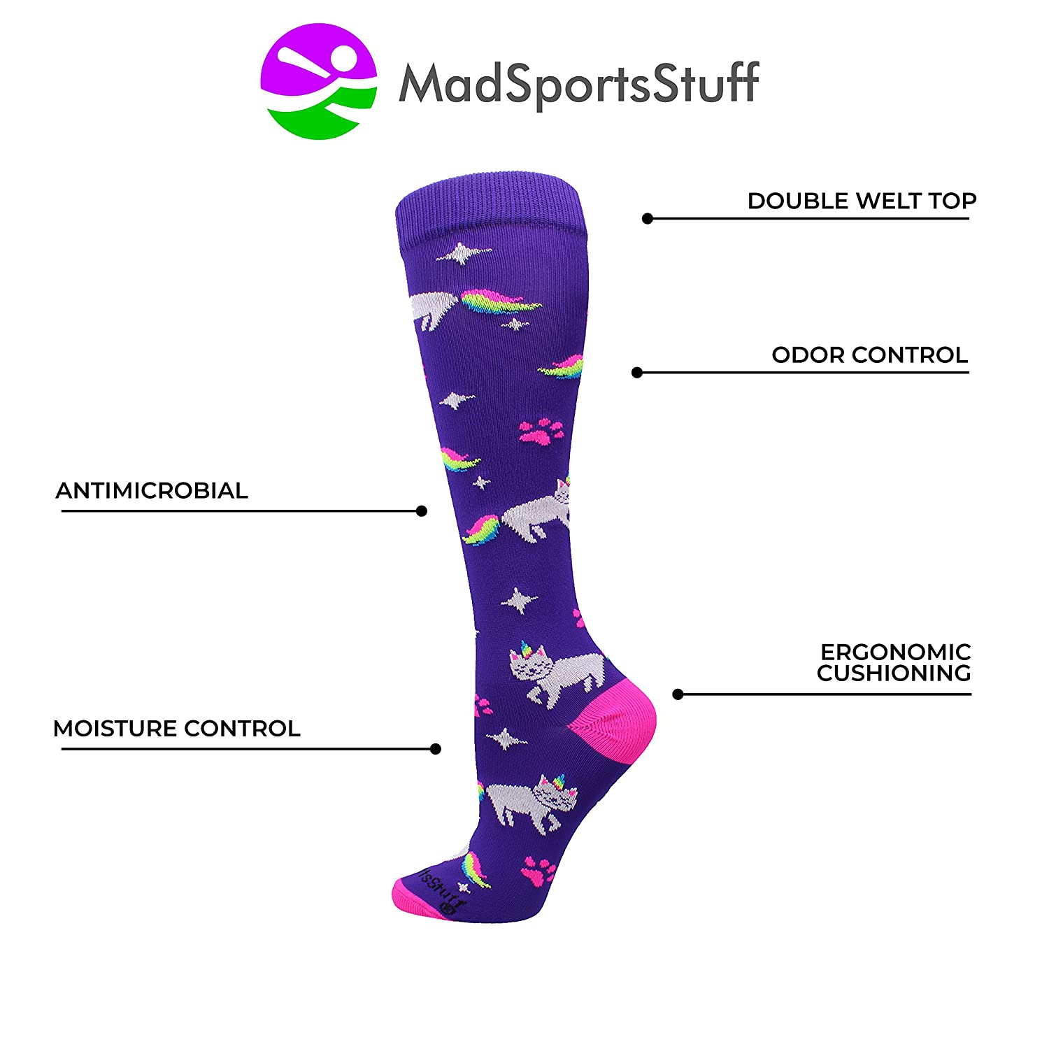 Neon Rainbow Caticorn Athletic Over The Calf Socks MadSportsStuff Half Cat Half Unicorn