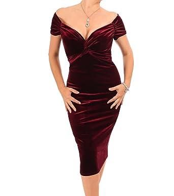 Blue Banana Women s Velour Velvet Bardot Dress  Amazon.co.uk  Clothing 2ab34543607