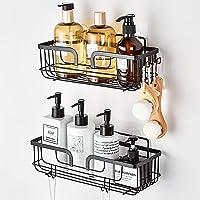 YOHOM Matte Black Shower Caddy Basket with Hooks Adhesive Bathroom Shelf Organizer Wall Mounted Stainless Steel Kitchen…