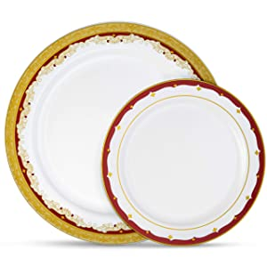 "Laura Stein Designer Dinnerware Set | 32 Disposable Plastic Party Plates | White Wedding Plate with Burgundy Rim & Gold Accents | Includes 16 x 10.75"" Dinner Plates + 16 x 7.5"" Salad Plates 