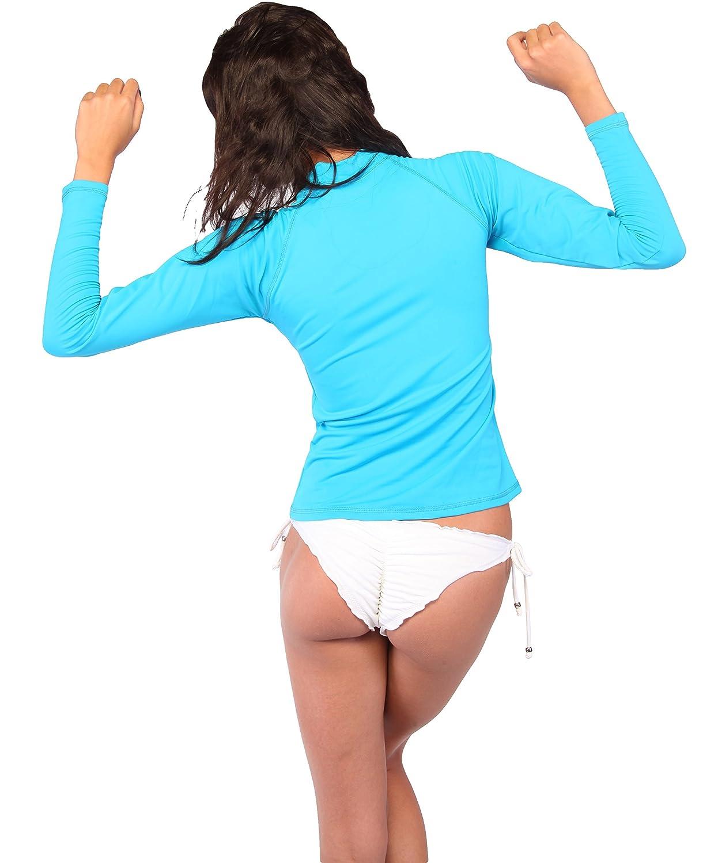 INGEAR Womens UV Sun Protection Long Sleeve Rash Guard Wetsuit Swimsuit Top InGear Fashion RGL9301COP-SEAF-L