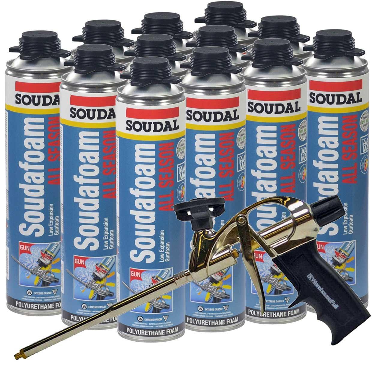12 Cans Soudal All Season Window & Door Foam, plus AWF Pro Foam Gun