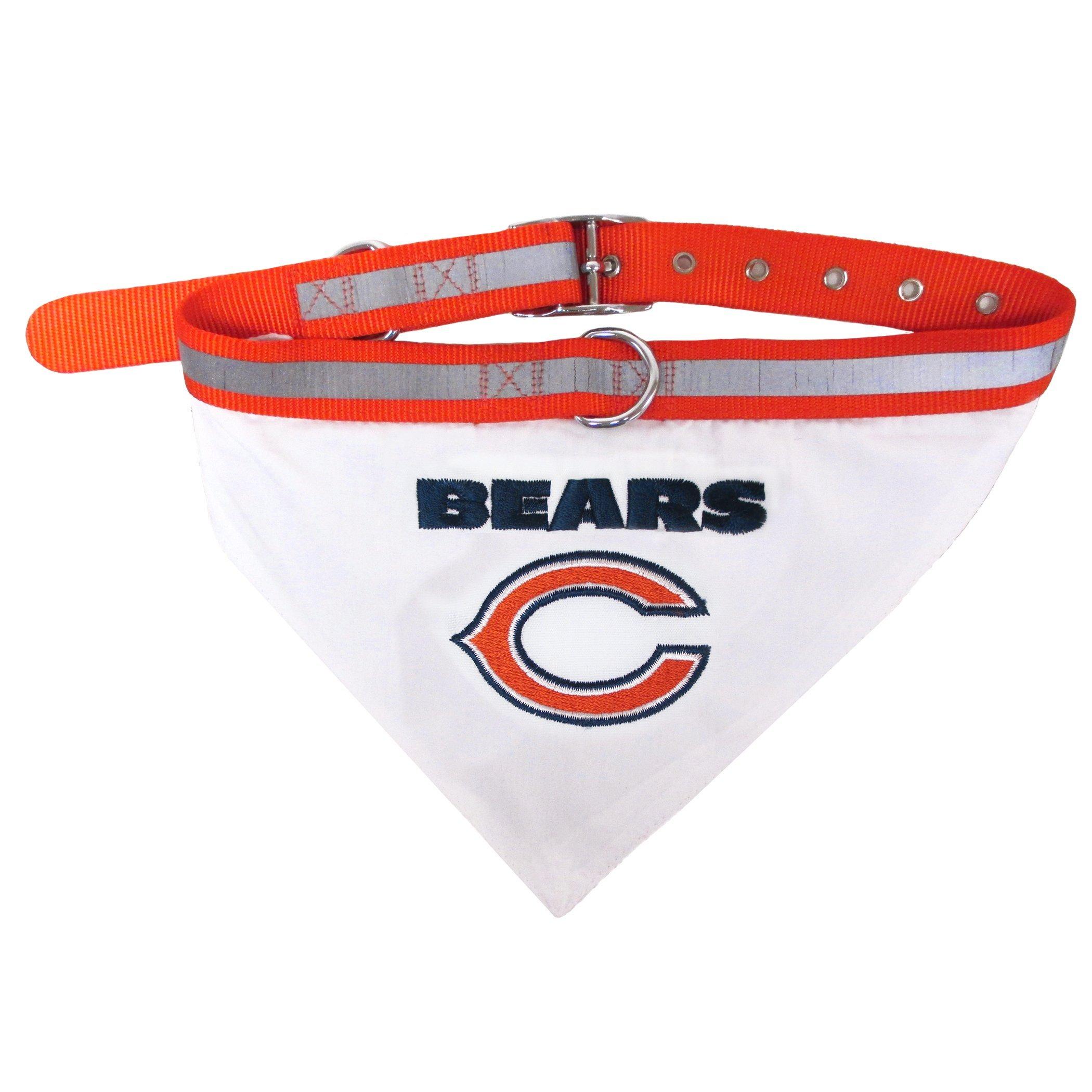 T-Shirts NFL Bandana - Chicago Bears PET Bandana with Reflective & Adjustable PET Collar, Large