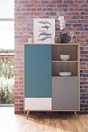 Lifestyle4living Highboard In Sonoma Eiche Nachbildung Kommode Mit