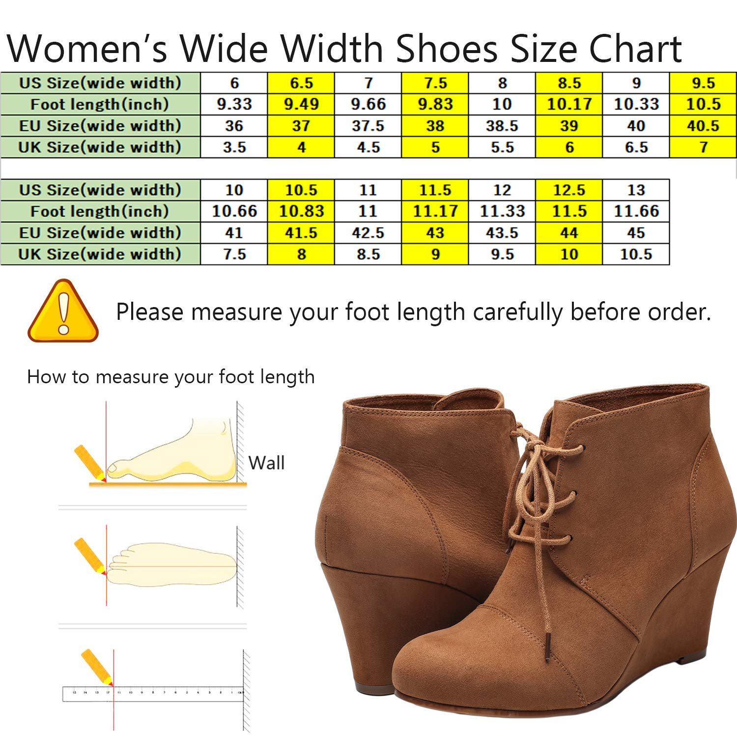 e51c1708bfcf Womens Wide Width Wedge Boots - Lace Up Low Heeled Ankle Booties w  Round