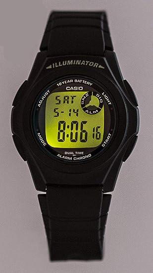 Casio Collection F-200W-1AEF, Reloj Redondo para Mujer, Digital, Acero Inoxidable, Negro: Amazon.es: Relojes