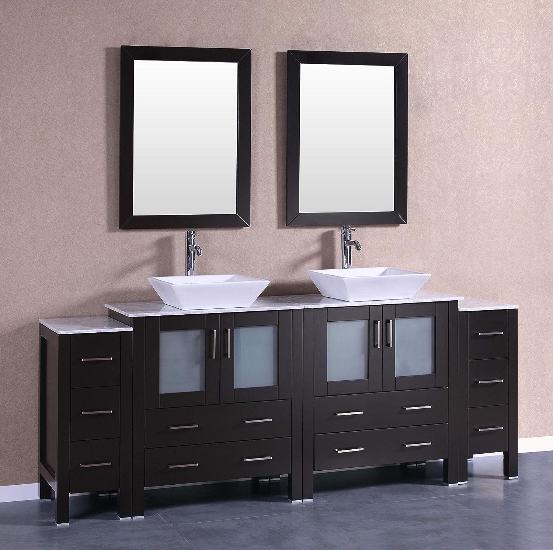 Bosconi Ab230sqcm2s 84 Double Vanity Set With Square Vessel Sinks