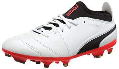 Puma One 17.3 FG, Chaussures de Football Homme, Blanc (White-Black-Fiery Coral), 42 EU
