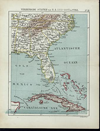 Map Of Florida And Cuba.South East Unite States Florida Cuba Tortuga 1880 S Scarce Old Dutch
