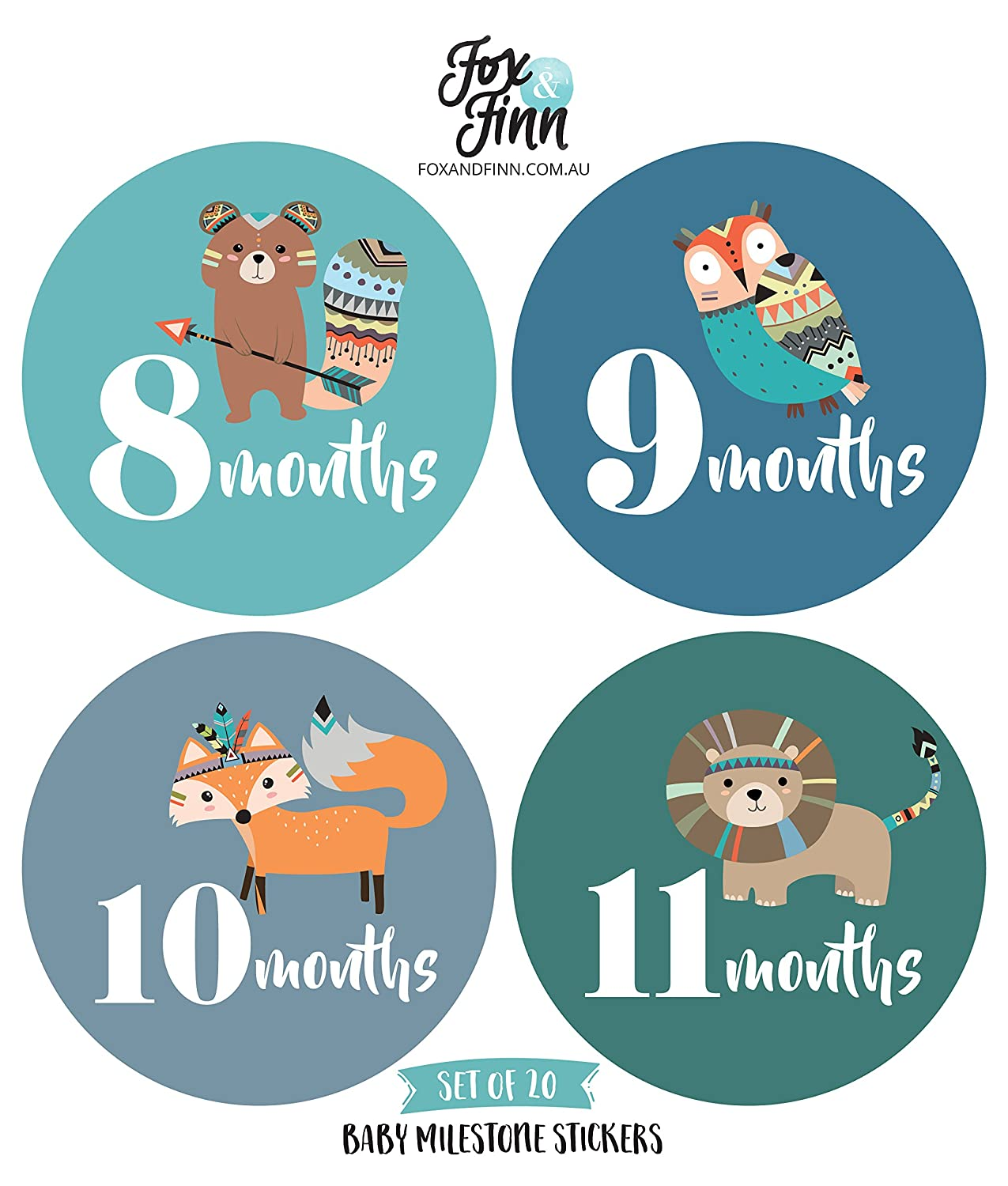 cd066c303 Baby Monthly Milestone Stickers (Set of 20) - Birth to 12 Months + 7 Bonus  Achievement Stickers  Amazon.ca  Baby