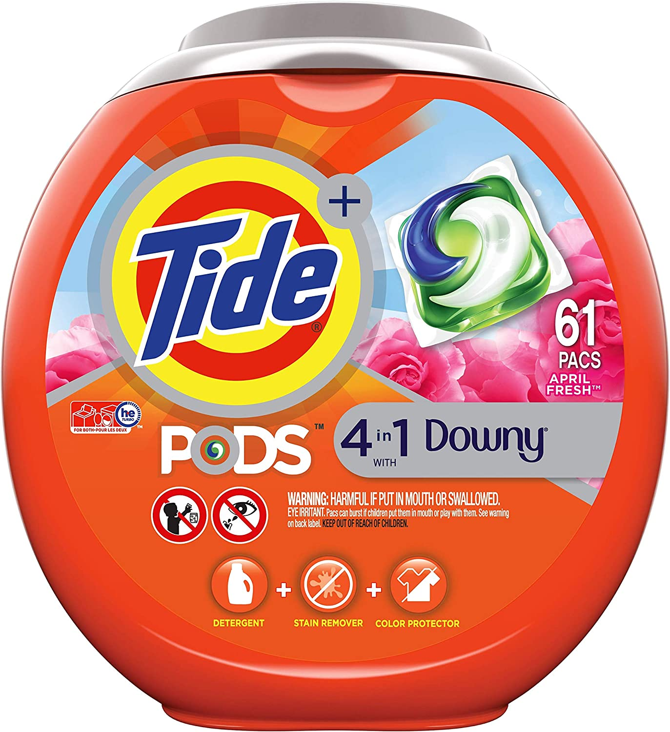 Tide PODS Plus Downy 4 in 1 HE Turbo Laundry Detergent Pacs, April Fresh Scent, 61 Count Tub - Packaging May Vary: Health & Personal Care
