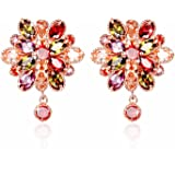 YELLOW CHIMES Double Flower Fine Work Swiss Cubic Zircon 18K Gold Plated Earrings for Women and Girls