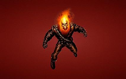 Posterhouzz Comics Ghost Rider Movie Comic Skull Fire Flame Dark HD Wallpaper Background Fine Art Paper