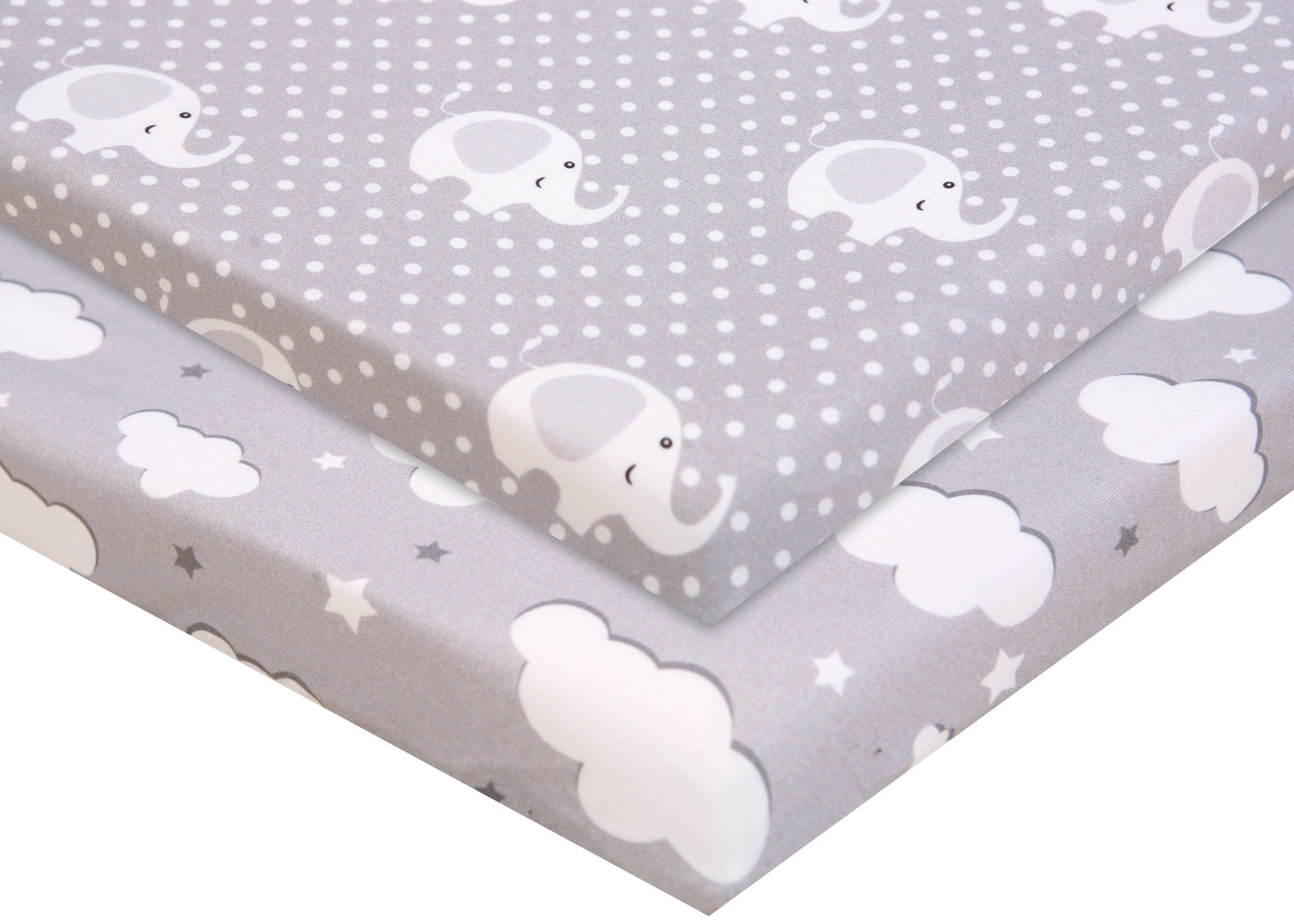 Pack n Play Fitted Pack n Play Playard Sheet Set-2 Pack Portable Mini Crib Sheets,Playard Mattress Cover,Super Soft Material,Elephants & Clouds