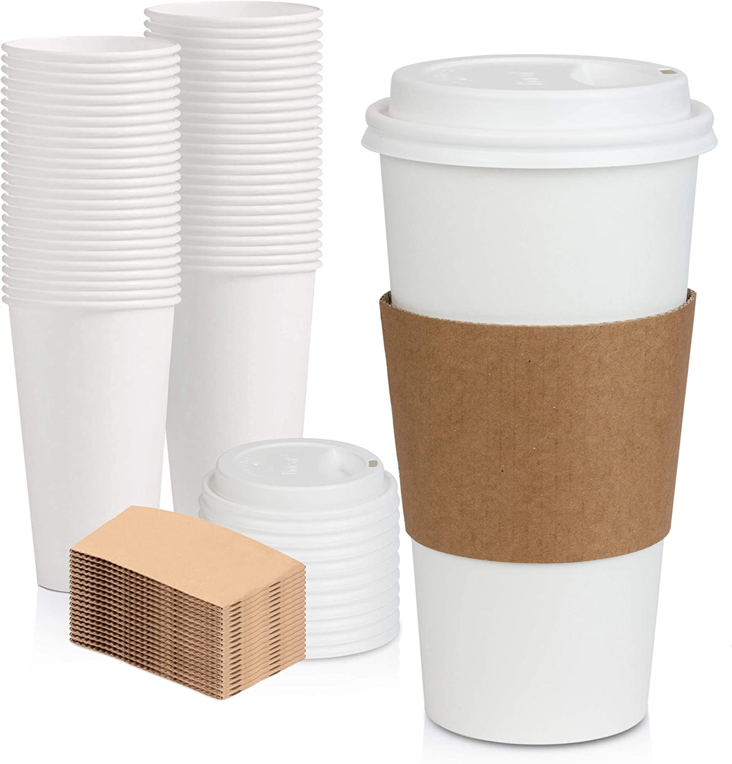 [50 Pack] White Coffee Cups with White Dome Lids and Brown Sleeves - 20oz Disposable Paper Coffee Cups - To Go Cups for Hot Chocolate, Tea, and Other Drinks - Ideal for Cafes, Bistros, and Businesses