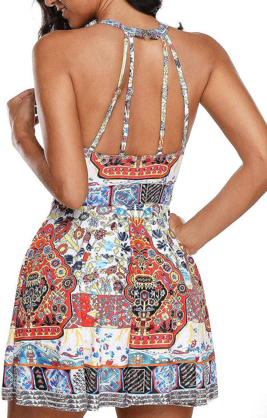 Damen Vintage Blumen Badekleid Tankini Plus Gr/ö/ße One Pieces Bademode Strandkleidung