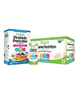 Orgain Bundle - Protein Pancake & Waffle Mix, 50 Superfoods and Vanilla Organic Nutritional Meal Replacement Shakes (12 Pack - Ready to Drink)