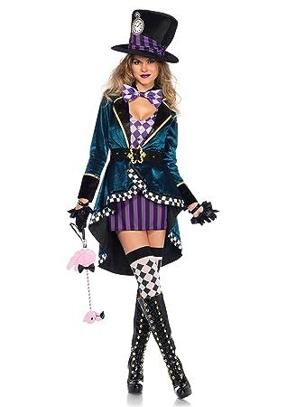 Leg Avenue Wunderland Hutmacher Damen Kostüm Kleid Mantel Hut ...