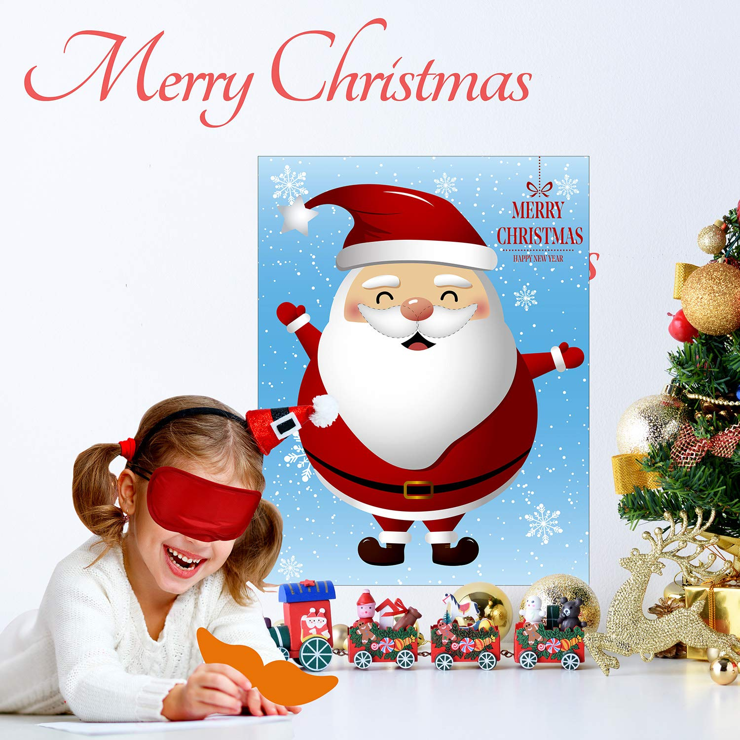 Christmas Party Pin Games Set Pin The Nose on The Snowman Pin The Beard on The Santa Claus Pin The Nose on The Reindeer for New Year Xmas Party Supplies(Reindeer)